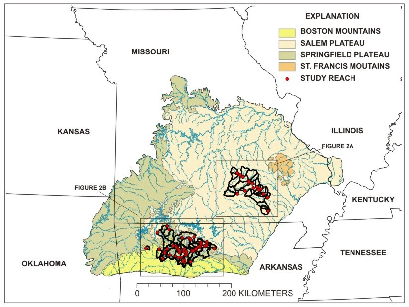 map of ozark plateaus and study drainage basins