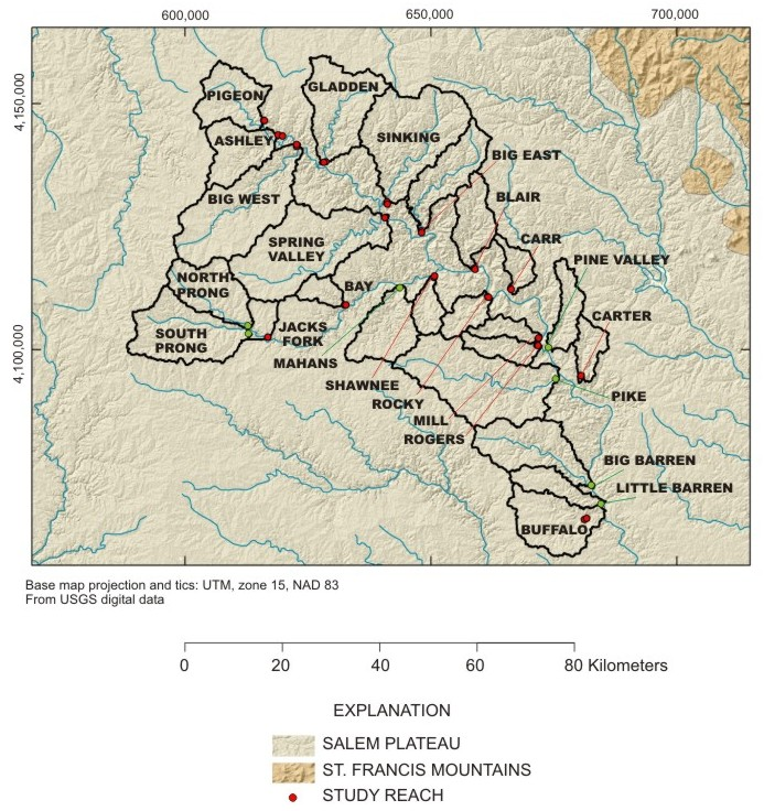 map of study drainage basins current river